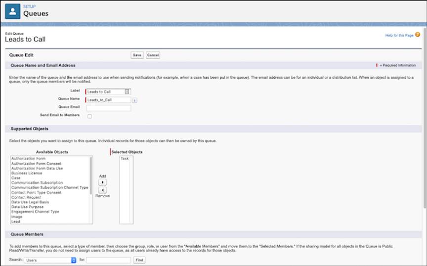 Page showing new queue being created with the task object assigned to the queue