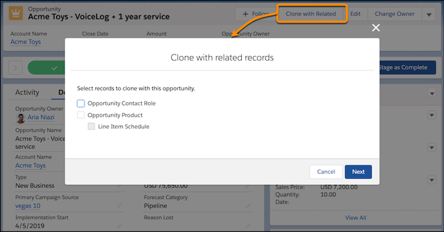 The Clone with Related action on an opportunity, and the dialog where you can choose to include products and contact roles in the new opportunity
