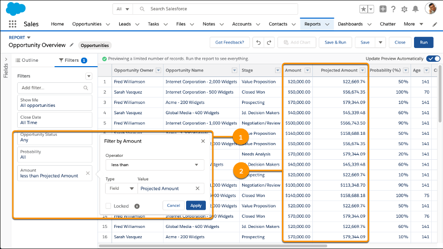 Filtering report data with a field-to-field filter to see opportnities with Amounts less than Projected Amounts