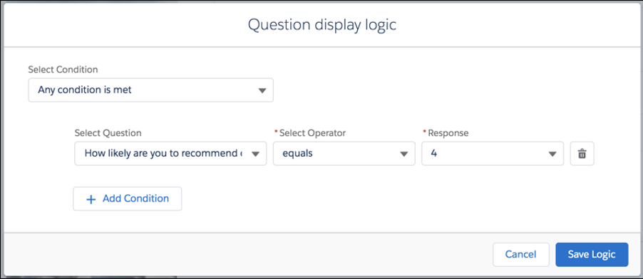 Question display logic modal