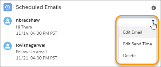 Manage scheduled emails
