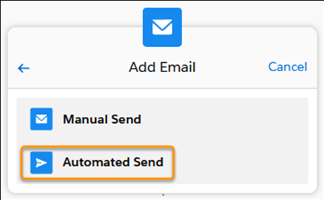 Adding an automated email step in the Sales Cadence Builder.