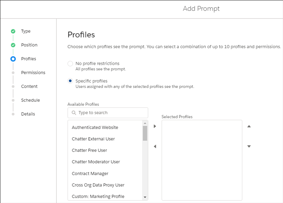 Profiles page when creating prompt