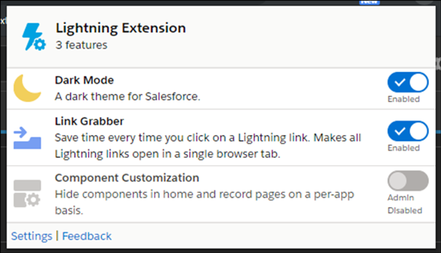 Lightning Extension browser panel