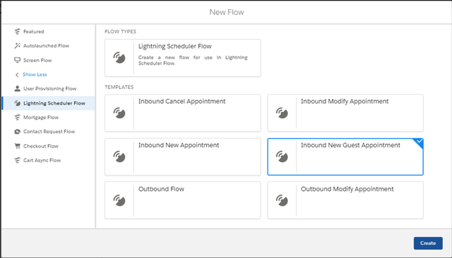 New Flow modal showing standard Inbound New Guest Appointment template for Lightning Scheduler Flow.