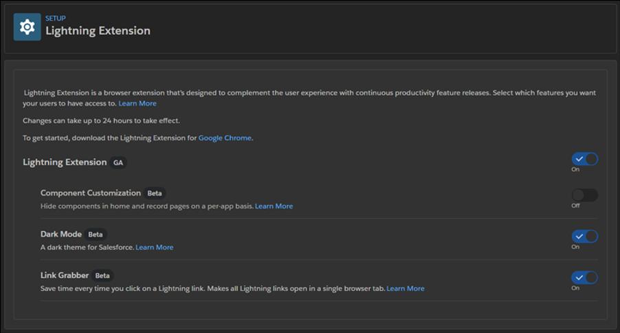 Lightning Extension Setup page